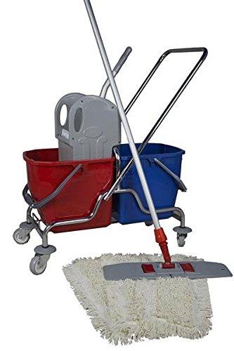 CleanSV® Wischset 50 cm - Putzwagen Chrom/Reinigungswagen mit Presse, CleanSV® Mop Set: bestehend aus 3 Baumwollmop/Wischmop 50 cm, einem 50 cm Klapphalter mit Profi Telekopstiehl