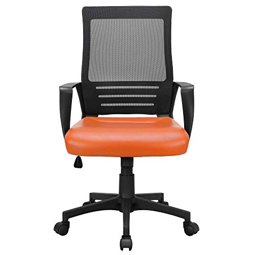 Yaheetech Ergonomic Office Chair Adjustable Mesh Computer Chair with PU Leather Padded Seat and Back Support for Home Work or Study Orange