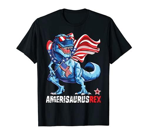 Dinosaur 4th of July Kids Boys Men Amerisaurus T Rex Funny T-Shirt