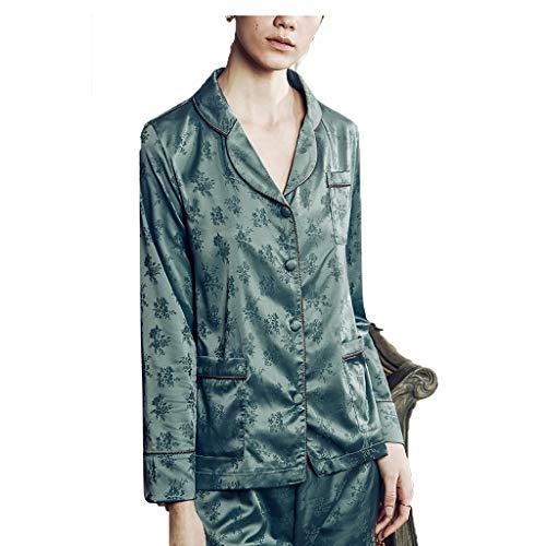Schlafanzüge Nachtwäsche & Bademäntel Pyjamas für Frauen Home Service langärmelige Pyjamas europäische und amerikanische sexy 2 Anzüge (Color : Green, Size : M)
