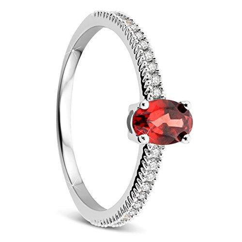 Orovi Damen Weißgold Verlobungsring Diamanten mit Garnet Solitärring Diamantring 9 Karat (375) Brillianten 0.20crt Amethyst 0.59 crt