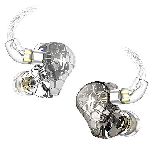 SIMGOT EK3インイヤーイヤホン、イヤモニ型、4調音モード付き、HiFiハイブリッドトリプルバランスドアーマチュアドライバーを搭載(3 Knowles BA)、3Dプリント樹脂シエル、着脱式ケーブル付きのIEMイヤホン(透明なブラック )
