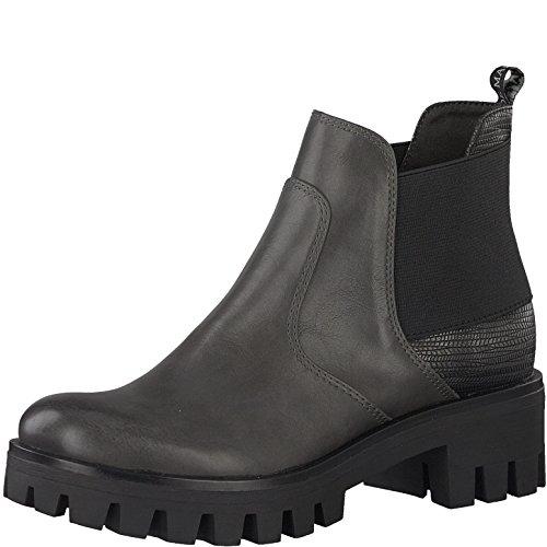 Tamaris Damen Chelsea Boots 25441-29,Frauen Stiefel,Halbstiefel,Stiefelette,Bootie,Schlupfstiefel,hoch,Blockabsatz 4cm,ANTHR/PLAT.STR,EU 41