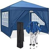 CAROMA Gazebo 3x3 m Carpas Plegables Impermeables Pergola Plegable (Azul, 3x3m + Paredes Laterales)