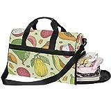 Dallonan Bolsa de Viaje de Gran Capacidad, Bolsa de Gimnasio con Frutas Tropicales exóticas, para Hombres y Mujeres, con Compartimento para Zapatos, Bolsa de Deporte