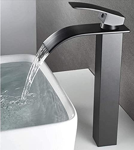 Cuenca negra sola mano caliente y fría bañera cascada grifo fregadero grifo del fregadero día grifo