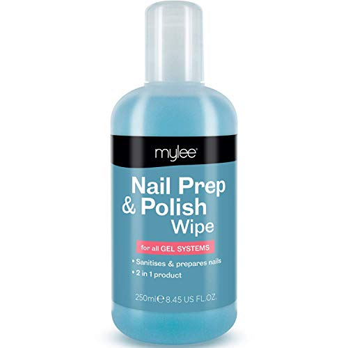 Mylee Prep + Wipe Gel Nail Polish Residue Cleaner Remover 250ml, Preparation & After Care, UV LED Manicure Gel Polish Base Wipe, Multi-Purpose for Sanitising Nail Plate & Removing Tacky Layer