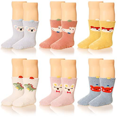Baby Boys Girls Soft Fuzzy Slipper Socks Non-Slip Cozy Winter Fluffy Warm Kids Toddler Socks 5 Pairs (6 Pairs Animal, 0-12 Months)