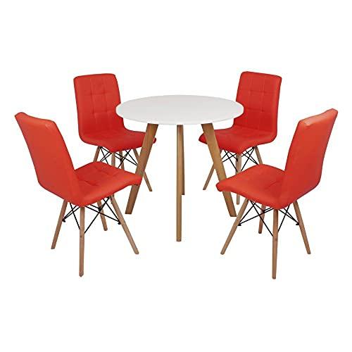 Mesa Laura 80cm Branca + 4 Cadeiras Eiffel Gomos - Vermelha