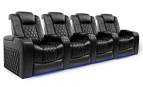 Valencia Tuscany Home Theater Seating | Premium Top Grain Italian Nappa 11000 Leather, Power...