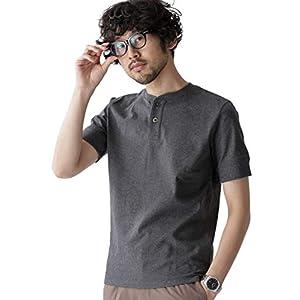 ナノ・ユニバース(nano・universe) Anti Soaked ヘビーヘンリーネック Tシャツ XL チャコール nano・universe