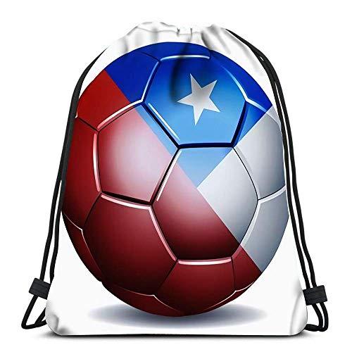 GeorgoaKunk Mochila con cordón Bolsas Bandera de Chile en balón de fútbol Bolsa de Gimnasia Deportiva