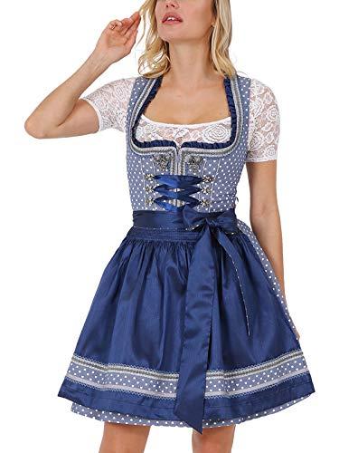Krüger Damen Trachten Dirndl kurz, Modell: Sweetheart, über Knie, Art.-Nr. 045705-0-0081, 36, blau