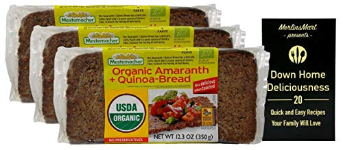 Mestemacher Organic Rye Bread Amaranth and Quinoa (12.3 Ounces) - 3 Count Plus Recipe Booklet Bundle