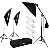 MOUNTDOG 1350W Photography Studio Softbox Lighting Kit Continuous Lighting System Photo with 4pcs E27 Bulbs Arm Holder Photo Video Soft Box Lighting Set for YouTube Filming Portrait Shooting