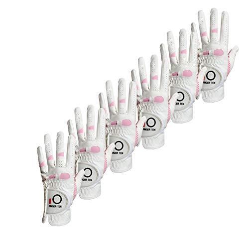 FINGER TEN Golfhandschuhe Damen Linke Hand Rechte 6 Stück(Not Paar) Extra Griff Allwetter 3D Performance Golf Handschuhe Links Rechts rutschfest Weicher Komfort,Größe S M L XL(M Links)