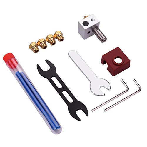 Fesjoy 3D Printer Parts, MK10 Hotend Kit Extruder Set with Heat Block Brass Nozzle Throat Tube PTFE Tube Silicone Sock Compatible with FlashForge Creator Pro Creator X Dreamer Finder Inventor