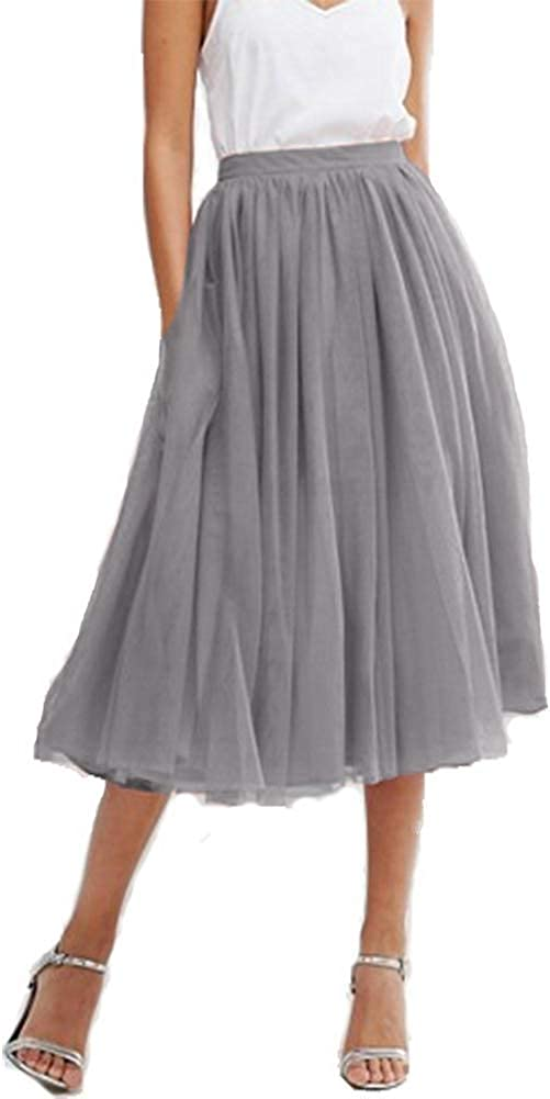 Yilisa Women's Tulle Tea Length Tutu A Line Midi Long Prom Party Skirt