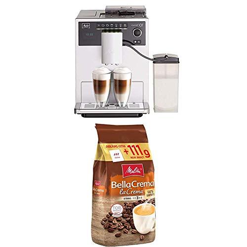 Melitta Caffeo CI E970-101 Kaffeevollautomat, mit Milchbehälter, Zweikammern-Bohnenbehälter, 15 Bar, Silber + Ganze Kaffeebohnen, 100% Arabica, vollmundig und ausgewogen, Stärke 3