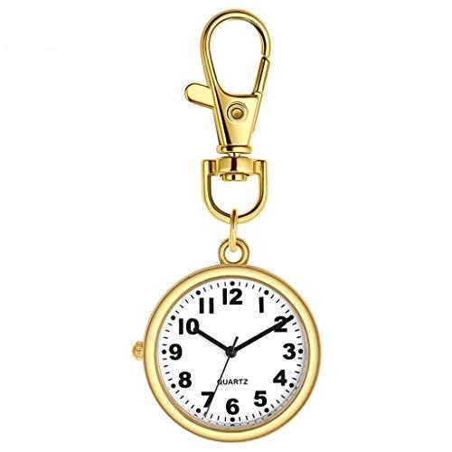 HCFSUK Reloj de Bolsillo con Estilo clásico.Reloj de Bolsillo para Enfermeras - Reloj Colgante de Pecho de Cuarzo Luminoso específico para hospitales - Tarjetero retráctil - Examen médico Mejor re