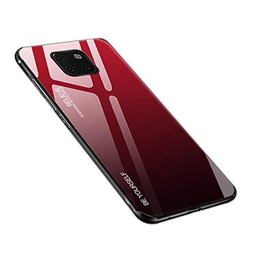 Hülle für Huawei Mate 20 Pro, Gehärtetes Glas Zurück mit Weichem TPU Silikon Rahmen Handyhülle Farbverlauf Farbe Hülle Schutzhülle für Huawei Mate 20 Pro (Rot-Schwarz)