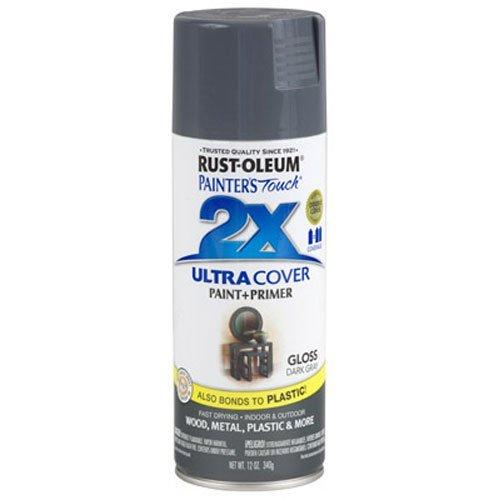 Rust-Oleum 249115 Painter's Touch 2X Ultra Cover, 12 Oz, Gloss Dark Gray