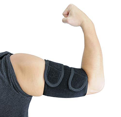 ObboMed MB-1850M Oberarmstütz Bandage, Oberarm Stütze, mit Magneten, Unterstützung für Tennis und Golfer Ellenbogen, Training, Sehnenentzündungen, Arthritis; schwarz - M : 30,5-33,0 cm