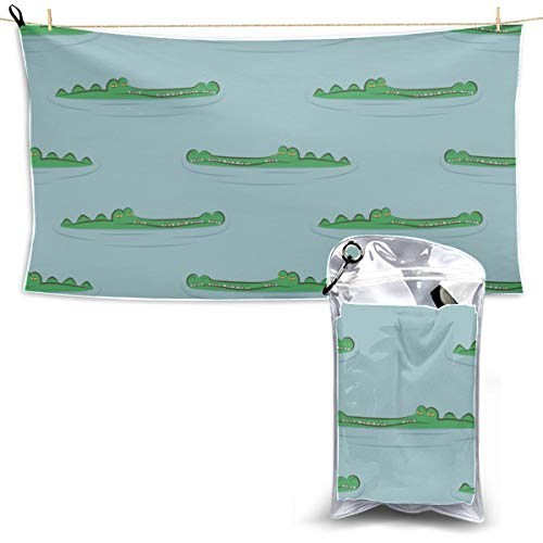 Cute Alligator and Tropical Plants Beach Towel Sports Thin Towels for Travel Sport Towel for Men Travel Swim Towel 27.5'' X 51''(70130cm) Best for Gym Travel Camp Yoga Fitnes
