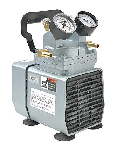Gast DOA-P704-AA Diaphragm Vacuum/Pressure Pump, Plastic, 115V, 60 Hz, 7-3/5' Width x 10-1/10' Height x 6-1/2' Depth