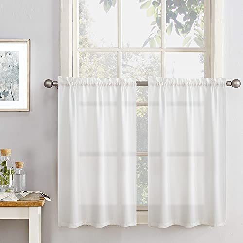 Vangao Kitchen Tier Curtains 24 inch Rod Pocket Half Window Curtain Casual Weave Textured Cafe Curtain Semi Sheer Short Curtain for Bathroom Bedroom, 2 Panels, W68xL24|Set,White
