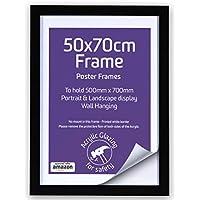 Marcos de madera de 50 x 70 cm, color negro, para póster y para colgar en la pared, frontales acrílicos, marcos de fotos
