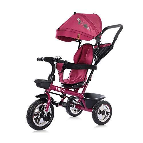 Chipolino Tricycle Polo Dreirad 3 in 1 Sitz drehbar Schubstange Sonnendach, Farbe:rot