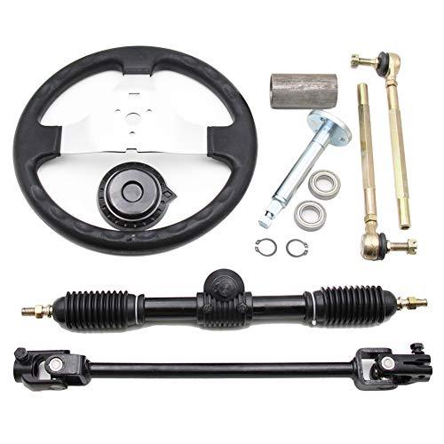 300mm Steering Wheel 110cc Go Kart, PRO BAT, Go Kart Go Cart ATVUTV 110cc 125cc 140cc 150cc Steering Wheel Tie Rod Rack Adjustable Shaft Tie Rod Kits