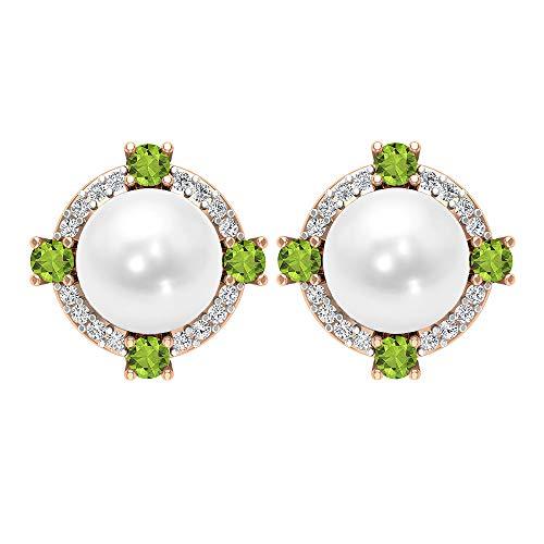 Rosec Jewels 18 quilates oro rosa redonda White Green Perla de agua dulce Peridoto/Olivino Diamond