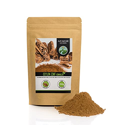 Canela de Ceilán en polvo (250g), especia 100% natural, suavemente secada y molida, vegana y sin aditivos