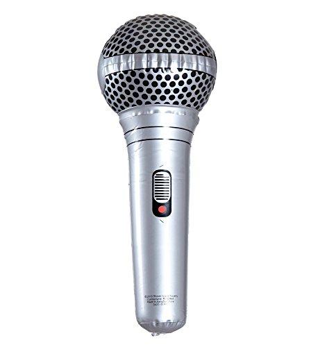 shoperama Aufblasbares Mikrofon 25cm Mikro Karaoke Photobooth 80er Jahre Party Schlager Sänger Rock Star Handmikrofon Kostüm-Zubehör