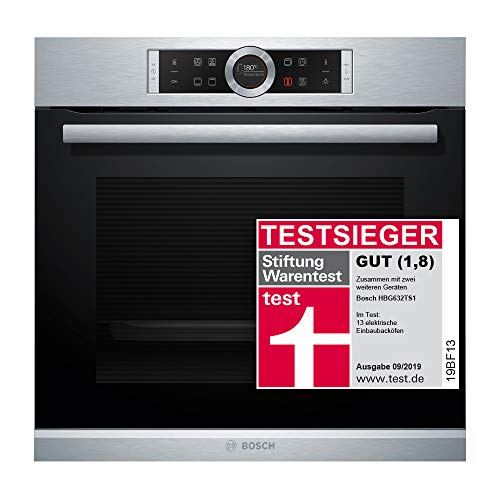 Bosch HBG632TS1 Serie 8 Einbau-Backofen / A / 71 L / Edelstahl / Klapptür / TFT-Display / 8 Beheizungsarten / 4D Heißluft