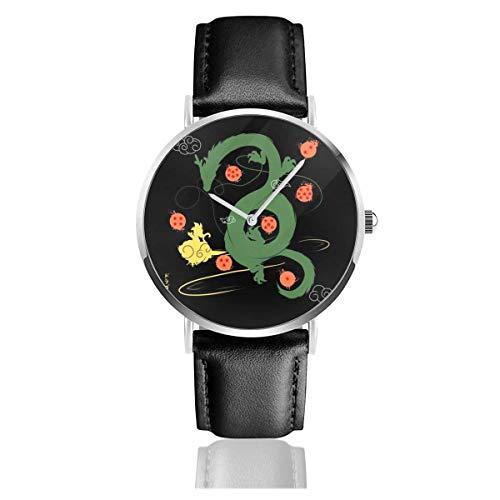Dragon Ball Z Shenron Wish with Stars Watches Reloj de Cuero de Cuarzo con Correa de Cuero Negra para Regalo de colección