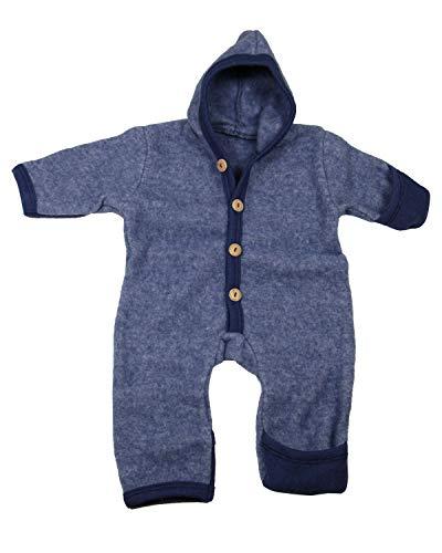 Cosilana Baby Fleece-Overall mit Kapuze, Kratzschutz kbT Wolle Bio Baumwolle (74-80, Marine-Melange)