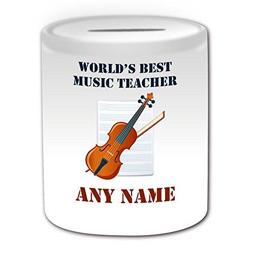 Regalo personalizado–World 's Best profesor de música/instrumento y pentagrama caja de dinero (diseño académico tema, blanco)–cualquier nombre/mensaje en su único–escuela Colegi