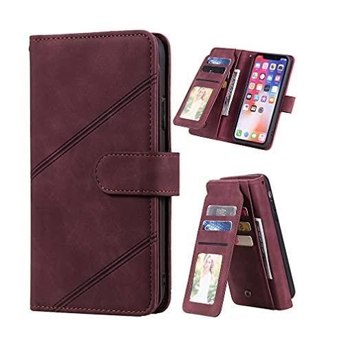 Funda para Samsung Galaxy A40, Billetera Carcasa [Cuero de PU Agradable para la Piel] 9 Ranuras para Tarjetas [Dos Modos de Soporte] Fundas para Samsung Galaxy A40-Rojo
