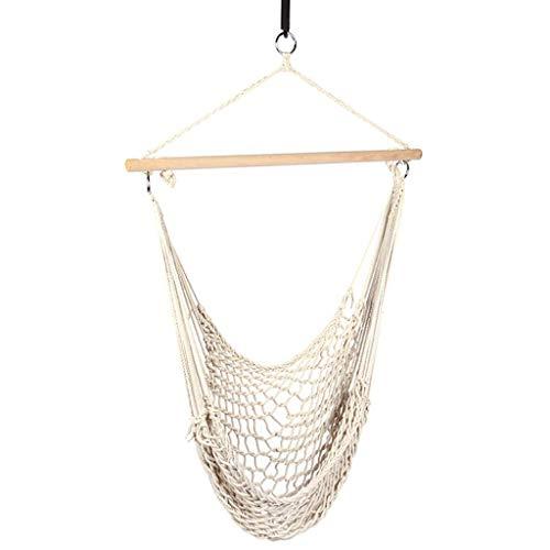 WYJRF Swing Mesh Swing Hängesessel Cotton Rope Outdoor Lazy Cradle Chair Innen- und Außengarten Hanging Swing Chair (weiß) Swings (Swing)