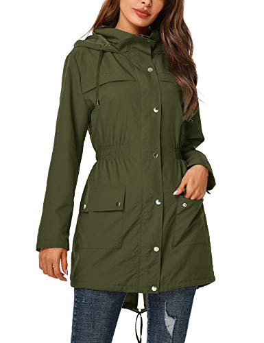 UUANG Rain Jacket Women Windbreaker Climbing Raincoats Waterproof Lightweight Outdoor Hooded Trench Coats Army Green,M