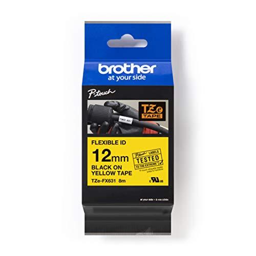 Brother Original P-touch Schriftband TZE-FX631 12 mm, schwarz auf gelb (u.a. für Brother P-touch PT-H100LB/R, -H105, -E100/VP, -D200/BW/VP, -D210/VP) zur Kabel- und Rohrbeschriftung, laminiert
