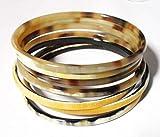 Set 7 Handmade Buffalo Horn Bracelet For Women. Lightweight Horn Bangle Bracelets Set, Exquisite Statement Horn Jewelry Gifts