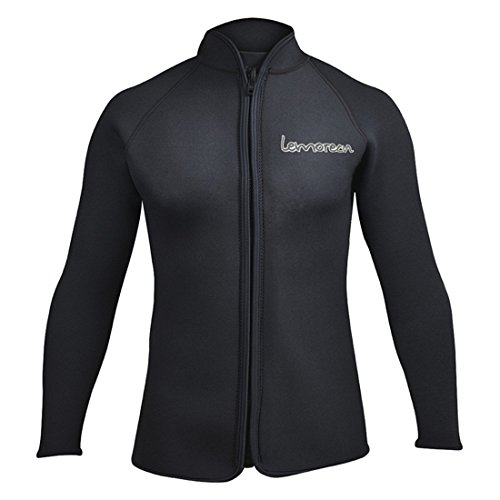 Lemorecn Adult's 3mm Wetsuits Jacket Long Sleeve Neoprene Wetsuits Top (2031black-2XL)