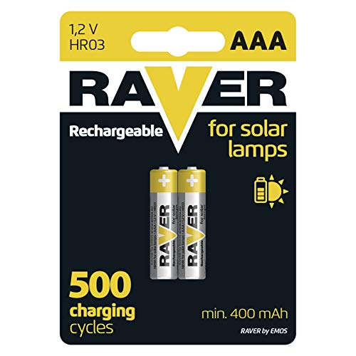 EMOS RAVER Solar AAA Micro Akkus/aufladbare Batterien für Solarlampen / 2 Stück/NiMH / 1,2V / 400 mAh / HR03 / Rechargeable