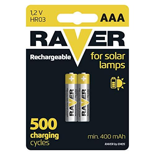 EMOS RAVER - Pilas AAA recargables para lámparas solares (2