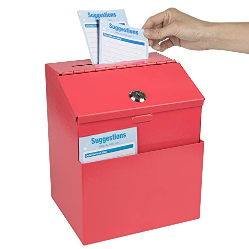 Kyodoled Metal Suggestion Box with Lock Wall Mounted Ballot Box Donation Box Key Drop Box with 50 Free Suggestion Cards 8.5H x 5.9W x 7.3L Inch Red