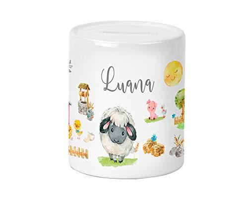 Yuweli Bauernhof Schaf Spardose für Kinder Jungen und Mädchen mit Namen personalisiert zur Einschulung Taufe Geburtstag Sparschwein Kinderspardose